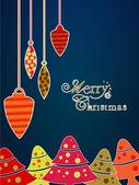 Hermosa navidad bolas sobre fondo de copos de nieve para navidad feliz — Vector de stock