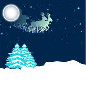 圣诞老人驾着雪橇,圣诞的月光夜背景。1 eps — 图库矢量图片