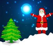 Greeting card, gift card or invitation card with Santa and Xmas — Stock Vector