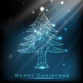 Merry Christmas background with shiny Xmas tree. EPS 10. — Stock Vector