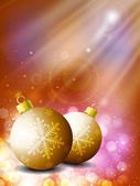 Beautiful Xmas balls on snowflakes background for Merry Christma — Vecteur
