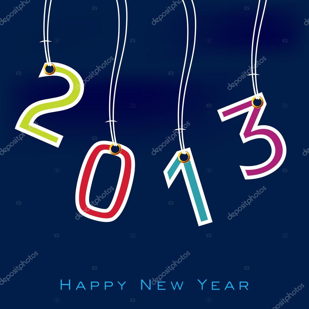 Stylized 2013 Happy New Year background. EPS 10  — Vettoriali Stock  #14918027