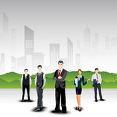Business persons on abstract urban city background. EPS 10. — Stock Vector