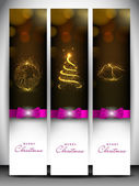 Merry Christmas website header and banner with Xmas ball, Xmas t — Stock Vector