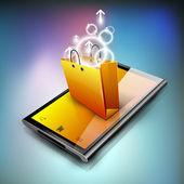 Bolso de compras en una tableta. eps 10. — Vector de stock