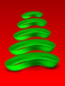 Stylizované vánoční strom na červeném pozadí pro veselé vánoce celebra — Stock vektor