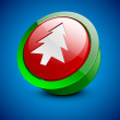 Merry Christmas icon, button or element with Xmas tree on blue. - Imagen vectorial