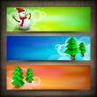 Merry Christmas website header or banner with Xmas trees and sno - Imagens vectoriais em stock