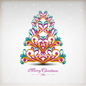 Vintage Merry Christmas greeting or gift card with Christmas tr — Stock Vector