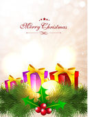 Merry Christmas greeting card, gift card or invitation card. EPS — Vettoriale Stock