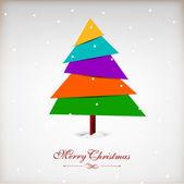Vintage alegre saludo o regalo tarjeta de navidad con la navidad tr — Vector de stock