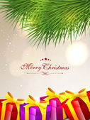 Merry Christmas greeting card, gift card or invitation card. EPS — Vector de stock