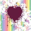 Grungy heart with colorful artwork — Stock Vector #1607433