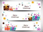 Merry Christmas website header or banner set. EPS 10. — Vetor de Stock