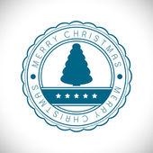 Feliz navidad sello de goma con árbol de navidad. eps 10. — Vector de stock