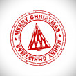 Merry Christmas rubber stamp with Christmas Tree. EPS 10. - 图库矢量图片