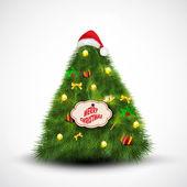 クリスマス ツリーにサンタのキャップ。グリーティング カード、ギフト カード、または invitat — ストックベクタ
