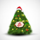 Santa cap on Christmas Tree. Greeting card, gift card or invitat — Stock Vector