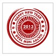 Stock Vector: Rubber stamp for 2013 Happy New Year. EPS 10.