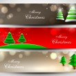 Stock Vector: Merry Christmas website header or banner set. EPS 10.
