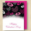 Happy Valentine's Day greeting card with pink envelope. EPS 10. — Stock Vector