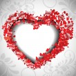 Valentines Day greeting card or love card decorated with small r - Stock Vector