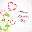 Happy Valentines Day greeting card or gift card with flower in h - Stock Vector