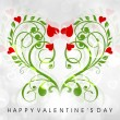 Valentine's Day greeting card or gift card with floral decorativ — Imagens vectoriais em stock
