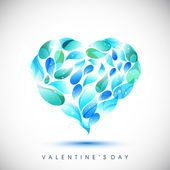 Valentines Day greeting card or gift card with blue and green dr — Stock Vector