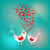 Valentine's Day love card or greeting card with cute love birds — Stock Vector
