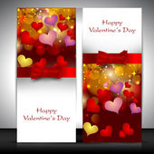 Valentine's Day greeting card with hearts and red ribbon. EPS 10 — Stock vektor
