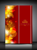 Valentine's Day greeting card, love card or gift card in red col — Stock Vector