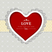 Valentines Day greeting card or gift card with decorative red he — Stock Vector