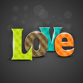 Colorful text LOVE on grey background. EPS 10. — Vector de stock