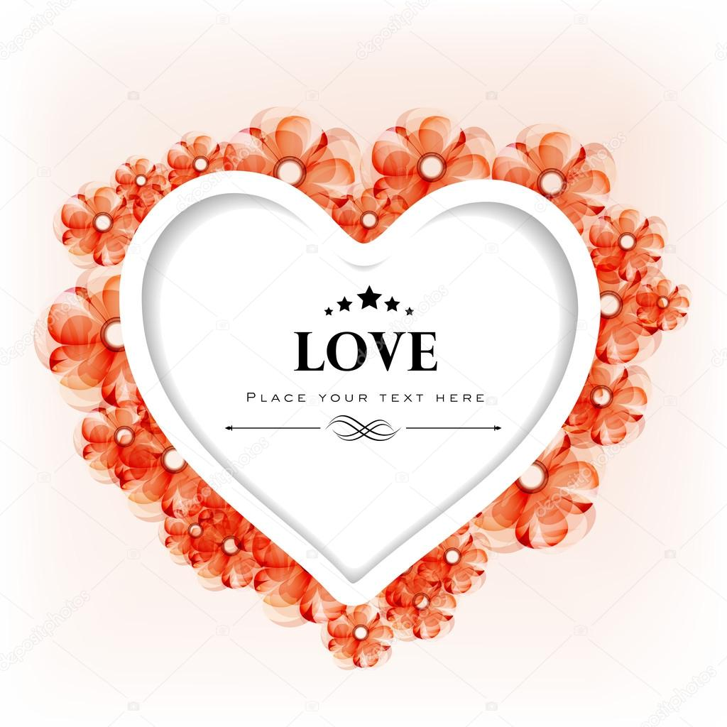 Valentines Day greeting card or gift card with floral decorative heart. EPS 10. — Stock Vector #18779917