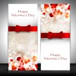Valentine's Day greeting card with hearts and red ribbon. EPS 10 — Vettoriali Stock