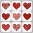Love background with different styles decorated hearts set on gr — ベクター素材ストック