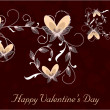 Happy Valentines Day background with floral decorated hearts. EP — 图库矢量图片