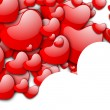 Valentines Day love background with red hearts on white. EPS 10. — Stock Vector