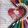 Valentines Day love background. heart draw on notebook page with — Vector de stock