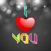 Liefde kaart of wenskaart met tekst ik hou van je. eps 10. — Stockvector