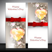 Valentine's Day greeting card with hearts and red ribbon. EPS 10 — Stock Vector