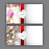 Valentine's Day greeting card with hearts and red ribbon. EPS 10 — Stockvektor