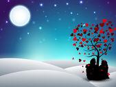 ημέρα του αγίου βαλεντίνου χειμώνα φόντο με κάθεται ζευγάρι σιλουέτα — Διανυσματικό Αρχείο