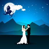 Día de san valentín amor fondo nocturno con cupido apuntando en ne — Vector de stock