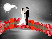 新婚カップルが踊るとバレンタインの日の夜背景 — ストックベクタ