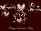 Happy Valentines Day background with floral decorated hearts. EP — Vettoriale Stock