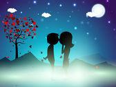 Sfondo di notte invernale san valentino con albero di amore e carino c — Vettoriale Stock