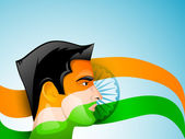 Indian man face painted in Indian Flag trio colors. EPS 10. — Stock Vector