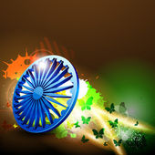 Indian flag color creative wave background with 3D Asoka wheel. — Stock Vector